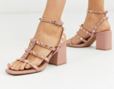 ASOS DESIGN Haiti studded blocked heeled sandals in beige