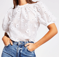 RIVER ISLAND ~ White flower embellished puff sleeve T-shirt