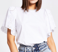 SALE RIVER ISLAND ~ White short broderie sleeve top