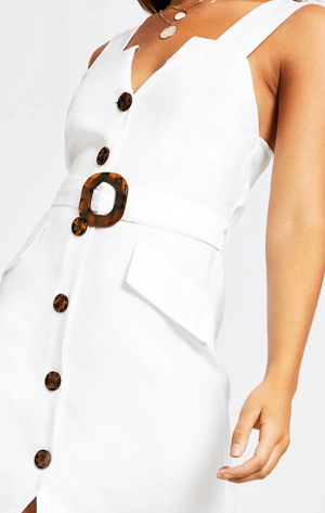 RIVER ISLAND ~ White belted pinafore dress