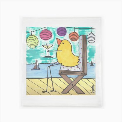 Flour Sack Towel - Bird With Martini