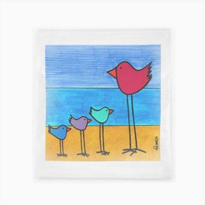 Flour Sack Towel - Multi-Birds on the Beach