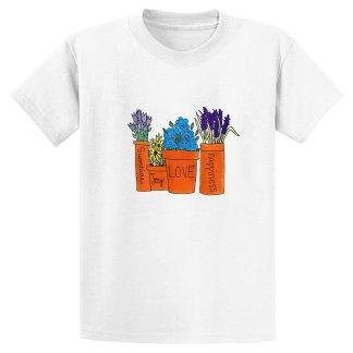 UniSex-SS-Tee-white-flowers-in-pots
