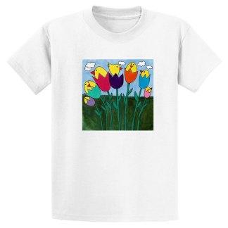 UniSex-SS-Tee-white-tulip-birds