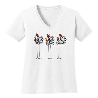 V-Neck-Tee-white-3chickens
