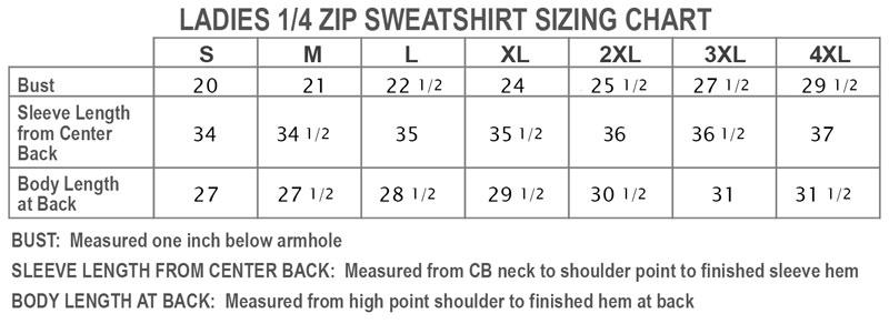 Ladies 1/4 Zip Sweatshirt Sizing Chart