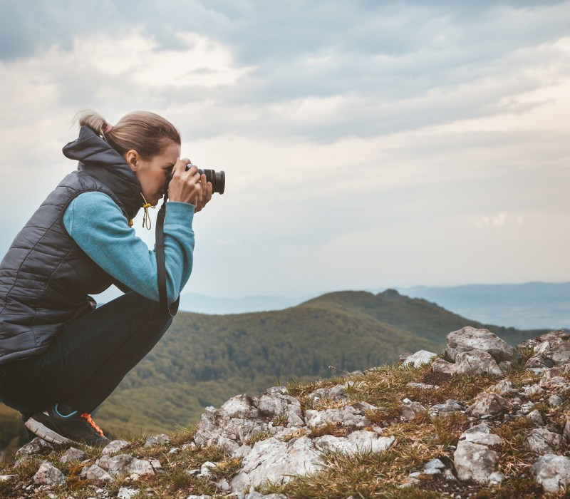 picture of woman taking photograph represents deep point of view