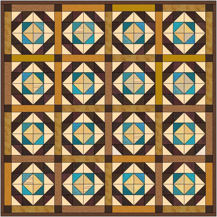 brown and teal with borders
