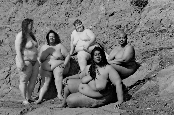 Laurie's photograph of five fat nudes at Baker Beach in San Francisco