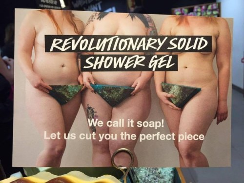 three women with triangular solid shower gel covering their private parts