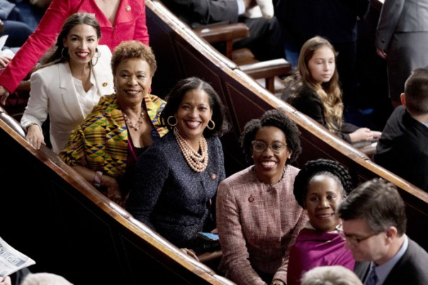 Barbara Lee with some of the new Congresswomen of color in the House chambers