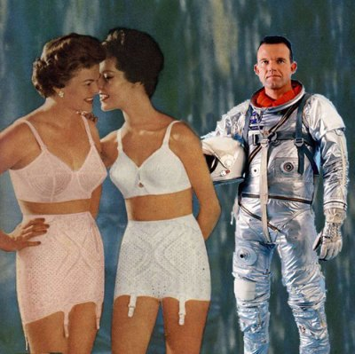two women in 1960s bras and girdles gossiping with each other, and a male astronaut in a spacesuit, with his helmet in his hand