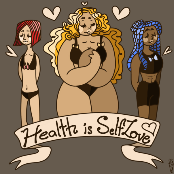 drawing of women with different bodies; banner says Health is SelfLove