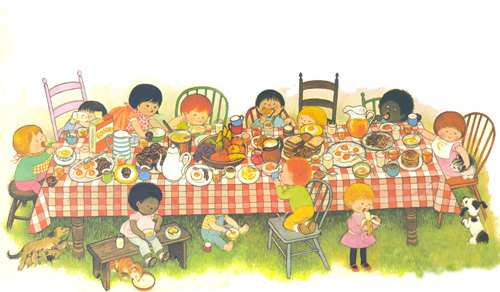 Kids eating at a picnic table