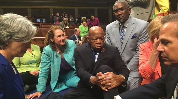 John Lewis in a 2016 sit-in on the floor of the US House of Representatives