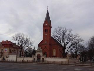 Very Cool Catholic Church...I love the black trees.
