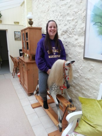 Fi trying out Mr Horse