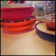 Empty dishes at Yo Sushi!