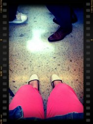 Pink jeans on the tube