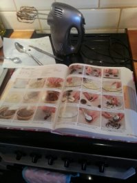 Recipe book is close to hand