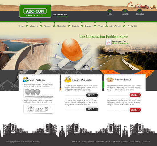 Download Free Construction Template PSD