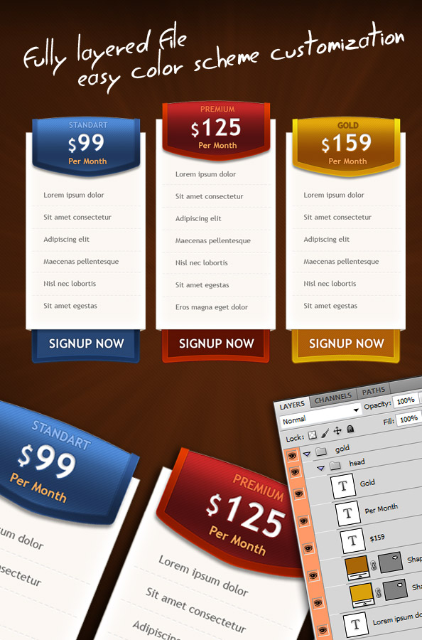 3 psd pricing boxes! free template