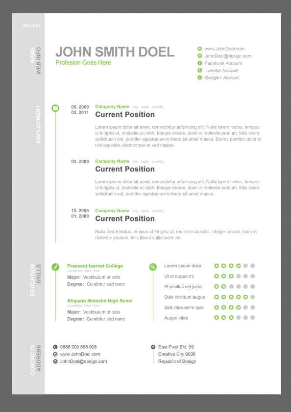 cv resume psd template for free