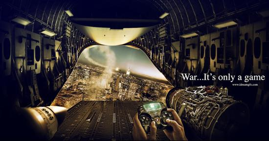 war..It's only a game! print media advertisement