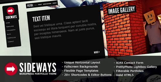 sideways portfolio website wp theme