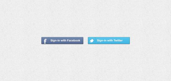 Facebook & Twitter Sign-in Buttons PSD for free download