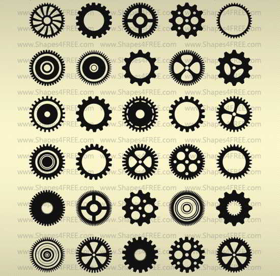 Photoshop free Gears custom Shapes