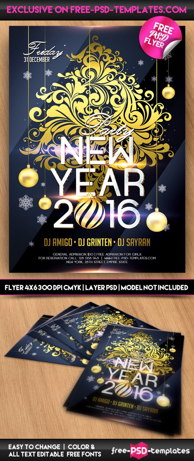 new year 2016 free psd template