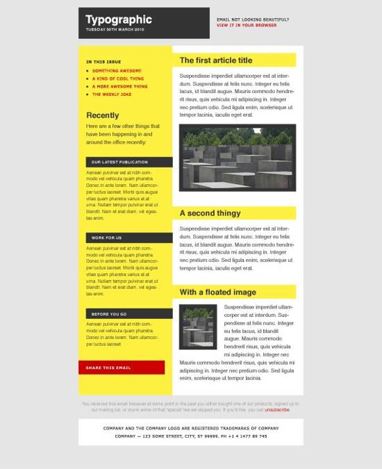 Typographic email news letter