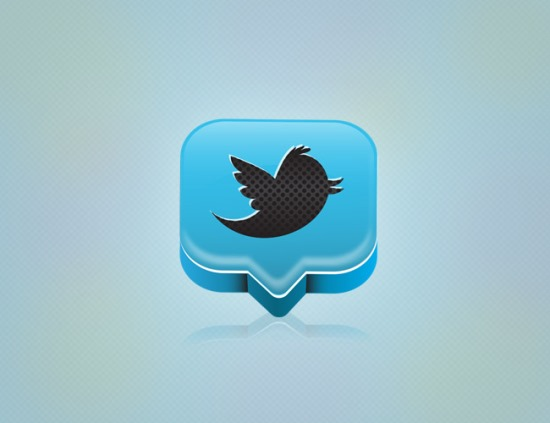 Professional 3D Twitter Icon In Illustrator