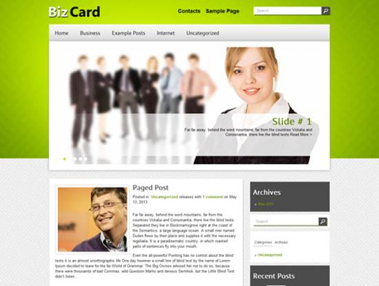 free bizcard wordpress theme