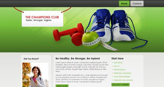 the champions club web template
