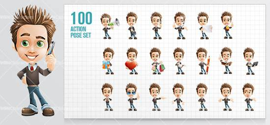 business boy cartoon character for premium