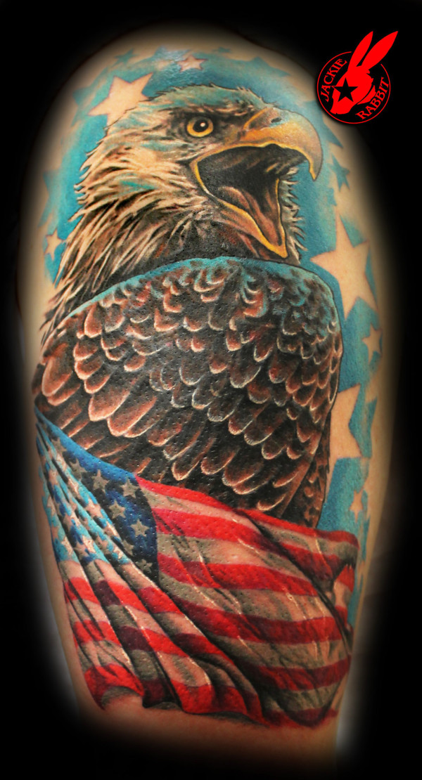 Patriotic American Flag Eagle Tattoo