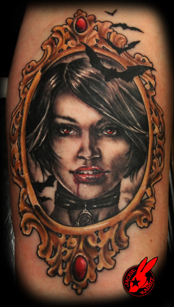 Vintage Vampire Portrait arm Tattoo