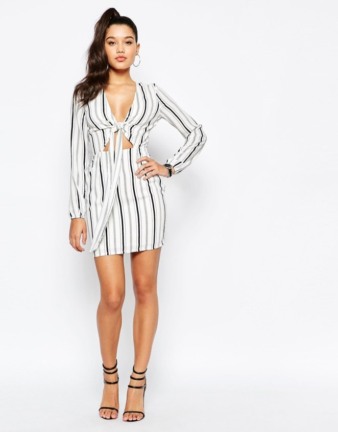 Missguided Tie Front Cut Out Stripe Dress
