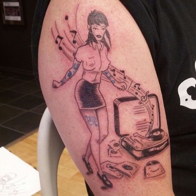 music tattoo designs (59) vintage pinup girl