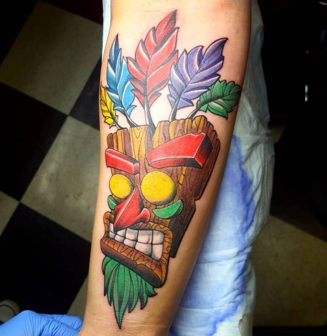 Color Tattoo Design Ideas1.19 wooden mask