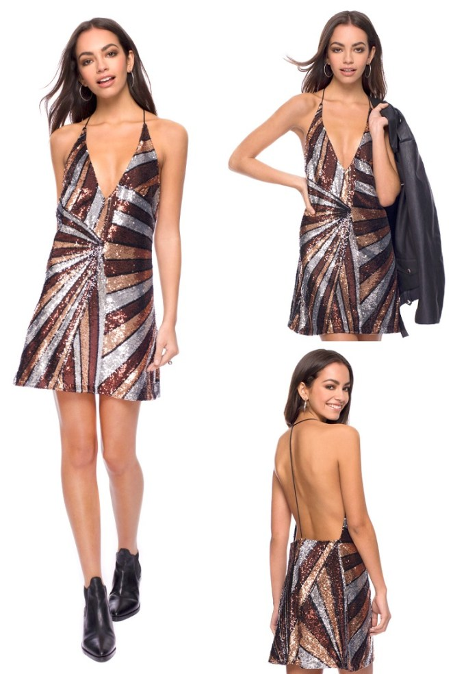 Flash Cecile Slip Dress in 70s Sequin main