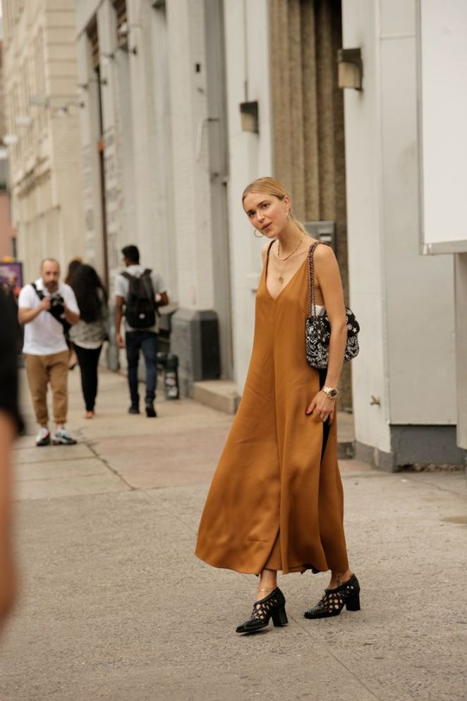 slip dress street style with sandles