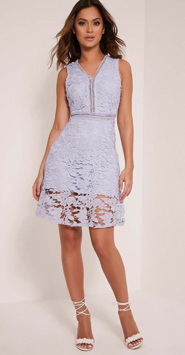 Roxy Baby Blue Crochet Lace Midi Dress