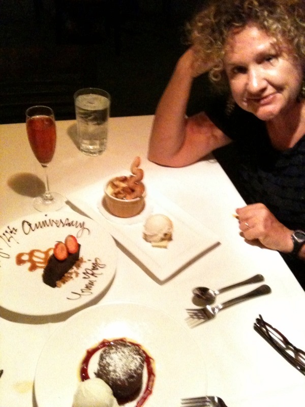 Paula with dessert at Roy's