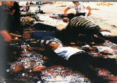 """""""Matanza de civiles en Sarajevo por proyectiles, junto al Mercado Principal, el lunes 28 de Agosto de 1995. En la calle"""", de Simeón Saiz Ruiz."""