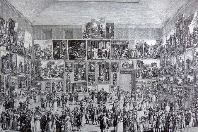 El Salón de 1787 en Louvre, grabado de Pietro Antonio Martini