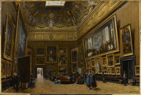 Salón Carré del Louvre. Giuseppe Castiglione, 1865.