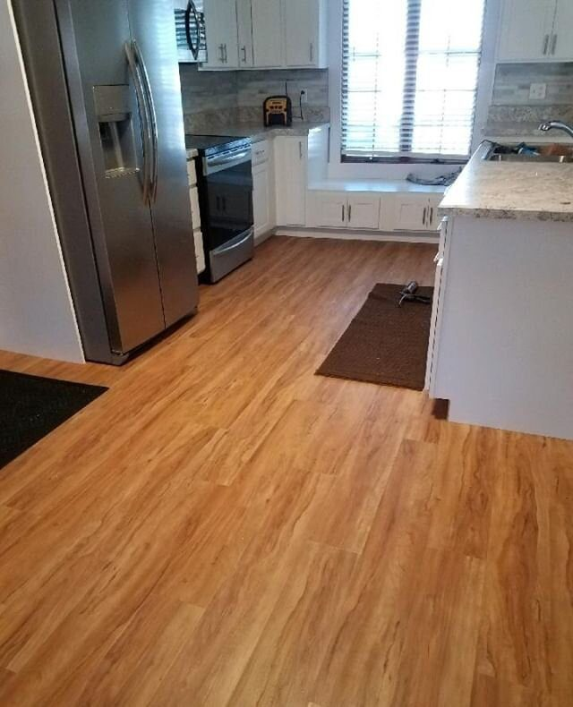 """AFTER:   Another project finished for WIT-Construction using MasterBrand Cabinets Homecrest Line and Cali Bamboo Blonde Ale Flooring. As Rich Church would say """"It came out mint.""""   #interiordesign #design #floor #renovation #floors #kitchen #remodeling #instahome"""